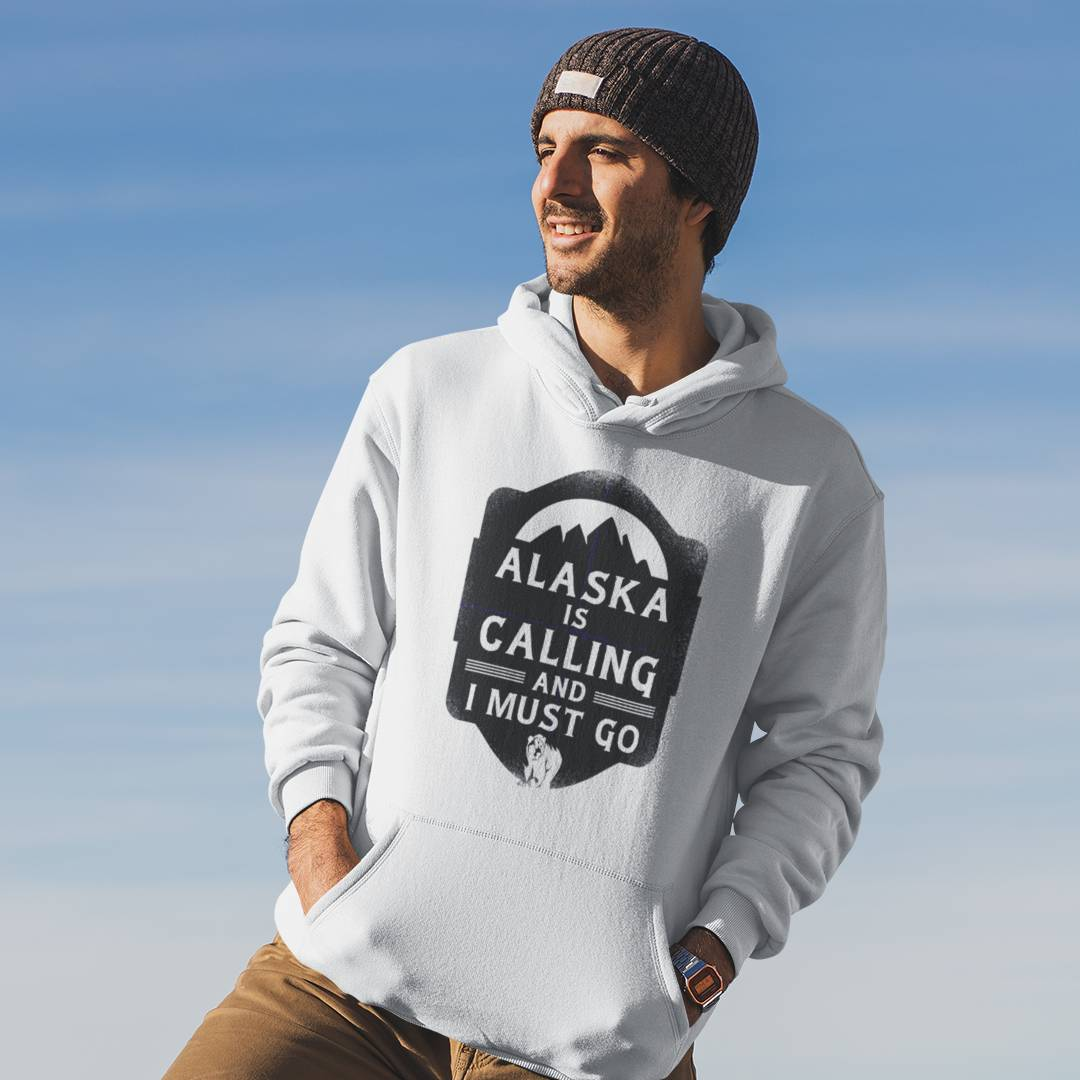 Alaska is Calling and i must go Hoodie Weiss