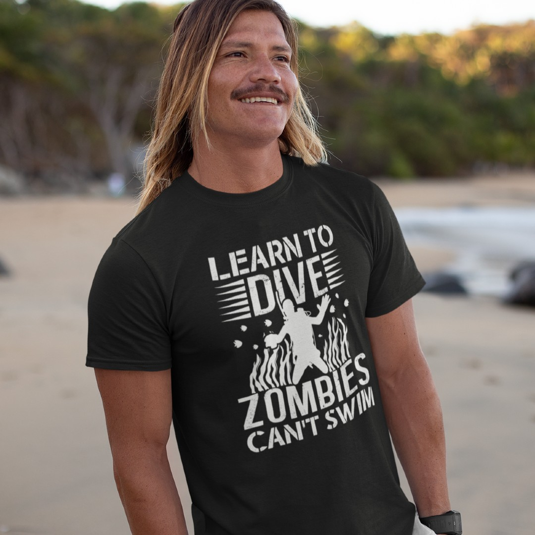 Learn to Dive Zombies can't Swim T-Shirt